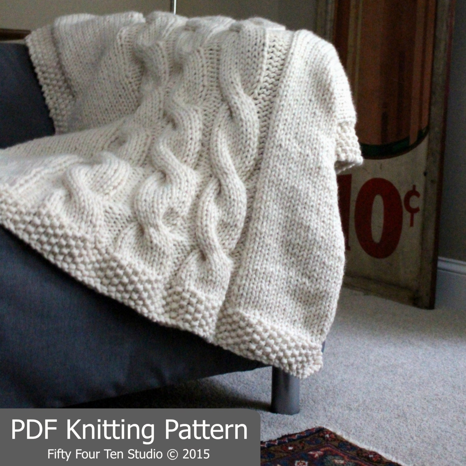 Blanket KNITTING PATTERN / Throw / Cable Knit / Super Bulky