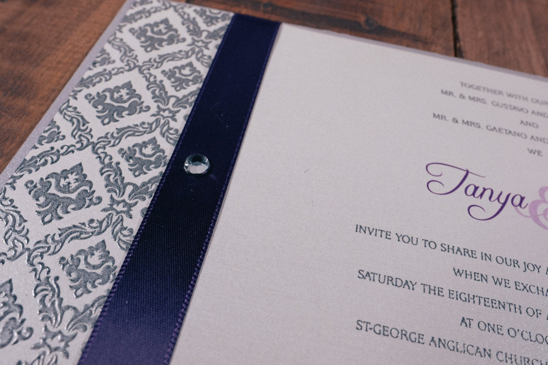 Purple and Silver Wedding Invitation, Damask Wedding Invitation ...