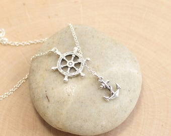 Sterling Silver Nautical Wheel and Drop Anchor Necklace