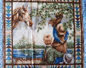 Fabric cotton pillows one sticker for kids and horse II