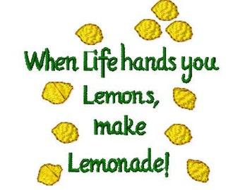 Lemon Machine Embroidery Design, 4x4 Hoop Size, Instant Download, 8 Formats, When life hands you lemons, make lemonade download