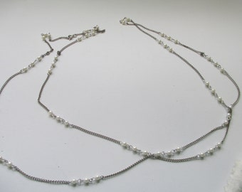 "Vintge silver toned chain and pearl necklace 52"" no markings K"