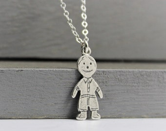 Sterling silver Mothers necklace, Boy charm necklace, Mom necklace, Baby shower gift, Mothers gift, Children charms, Mother's day gift
