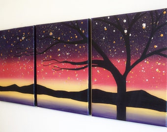oil landscape vivid beautiful original paintings on canvas abstract triptych painting wall art contemporary art tree of life 27 x 12 ""