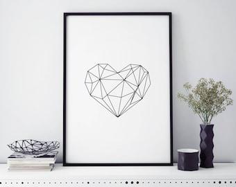 Geometric Heart Art Print Home Decor Wall Art Framed Prints