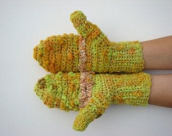 Ugly Mittens, Crochet Mittens, Classic Wool Mittens, Handspun Wool Mitten, Hand Warmers, Wool Gloves, Handmade Mittens, Yellow Mittens