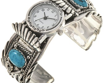 Navajo Turquoise Coral Ladies Watch Cuff Sterling Bracelet Native American Jewelry