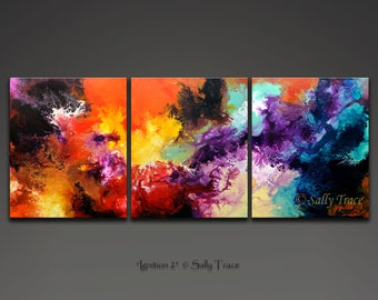 Large abstract art giclee print, abstract print set on canvas, three canvas triptych from my original abstract painting, fluid expressionism