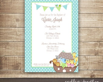 Boy's Baptism Invitation, Noah's Ark, Christening Invitation,  Dedication, Noah's Ark Baptism, Baby Boy, Printed or Printable File