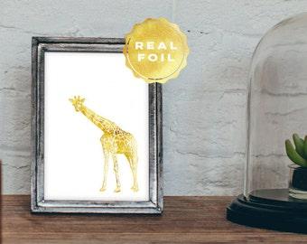 Giraffe Art Print 4x6 - 5x7 - Real Gold Foil - Gold Leaf - Gold Giraffe - Girly Decor - Chic Decor - Wall Art