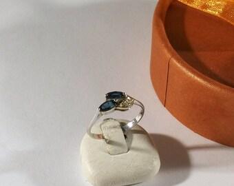 18 mm ring silver Sapphire & crystals precious vintage SR1051
