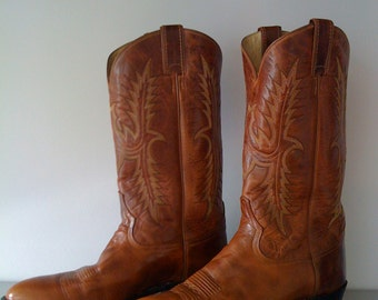 SALE Reduced / Men's Tony Lama Brown Leather Cowboy Boots  / Vintage 70's -80's /Size 11B / Western Boots