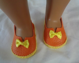 "Orange and Yellow 18"" Doll Sandals-Shown on my american girl doll"