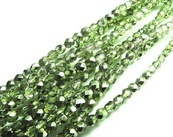 TWO-TONE GREEN ROUND BEADS 20 GREEN AND SILVER FACETED 4 MM