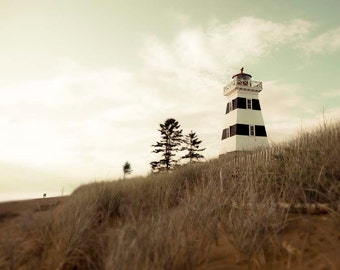 Lighthouse Photo, Brown, Mint, Rustic Beach House Decor, Travel Photography of PEI
