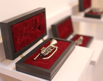 HANDMADE TRUMPET JEWELLERY with redpaper and velvet case