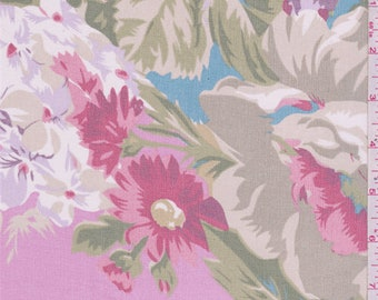 Deep Pink Multi Floral Bouquet Print Silk Chiffon, Fabric By The Yard