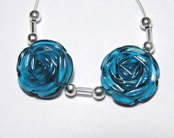 2 Pieces Extremely Beautiful Teal Blue Quartz Hand Carved Rose Flower Shaped Beads Size 18X18 MM