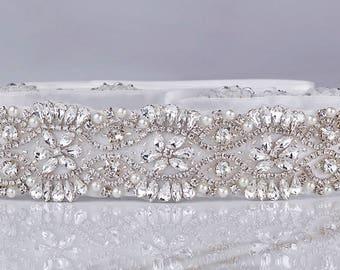 Wedding Gown Sash, Beaded Bridal Belt, Wedding Gown Sashes, Rhinestone Sash, Pearl Bridal Belt, Swarovski Sash, Jeweled Bridal Sash,