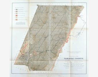 Cambria County Pennsylvania Antique Map 1877