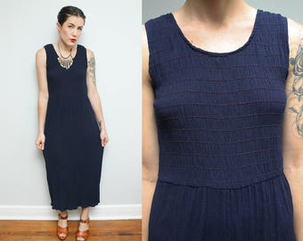 90s Navy Ruched Bodice Dress // Vintage Blue Boho Maxi Stretchy Sleeveless Full Length Dress Size Small Medium
