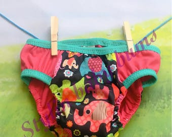 Size small  girls pink elephant training underwear- cloth pull ups- toddler trainers - special need underwear - FREE SHIPPING