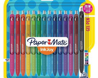 14 Paper Mate InkJoy Gel Pens  | 0.7mm Medium Point Pen Set | Color Pens, Planner Pens, Ink Pens, Coloring Pens, Colorful Pens, Cute Pens