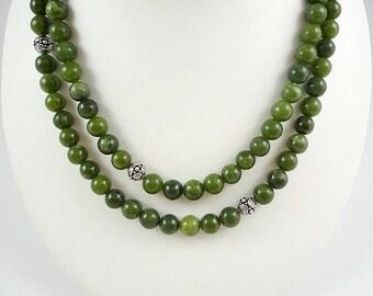 Long Jade Necklace Nephrite Jade Necklace Genuine Jade Necklace Green Jade Necklace Long Nephrite Jade Strand Gemstone Necklace Jade Bead