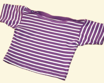 Striped organic T-shirt for babies - light blue / turquoise or purple / white