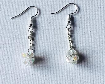 Silver Crochet Wire Crystal Dangling Chain Earrings