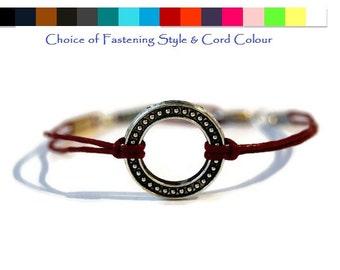 Open Circle Bracelet, Washer bracelet, Friendship bracelet, Mens bracelet, Womens bracelet Cord Bracelet, Festival bracelet, gift idea
