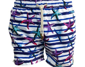 Taonga Beachwear Swim trunks, swim shorts, swimwear, swimsuits, men, beach apparel, starfish, manta ray