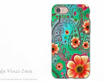 Teal Paisley Floral - Artistic iPhone 7 / 8 Tough Case - Dual Layer Protection - Green and Orange Floral Art - Paisley Paradise