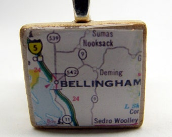 Bellingham, Washington - 1980s vintage Scrabble tile map