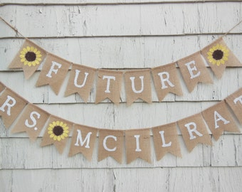 Rustic Bridal Shower Country Sunflower Decorations Future Mrs Banner Bunting Burlap