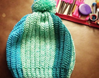 semi-slouchy ribbed beanie, sized for an adult