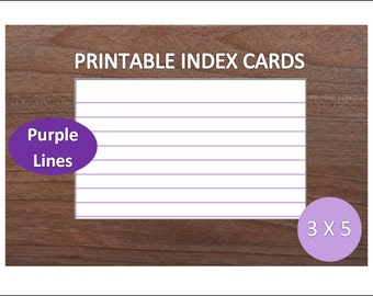 Purple Lined Printable Index Cards~3x5~Recipe Cards~School Supplies~Office Supplies~Digital Index Cards~Digital Download