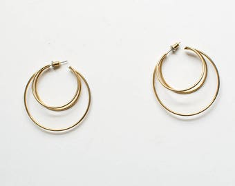 90s Gold Triple Hoop Earrings / Minimalist