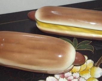 Vintage Hot Dog In Bun Salt & Pepper Shakers Virginia Ann Ceramics CA