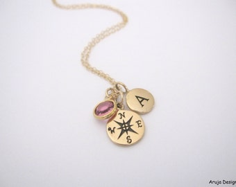 Gold compass necklace with solid bronze compass, initial and birthstone