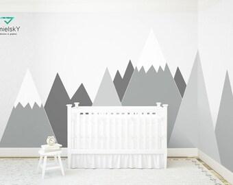 Mountains Wall Decal Nursery Wall Art Headboard Corner Pattern Baby Kids Room Wall Sticker Washable Self Adhesive Decor #mountains007