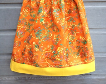 Orange, green and yellow skirt with golden trim / Girls bathing suit cover up / Yellow batik patchwork skirt / Size 4-6 / Ready to ship