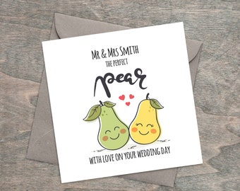 Card - Personalised Wedding Day Card, for the Happy Couple - The Perfect Pear