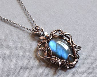 Blue Labradorite Pendant, Labradorite Necklace,  Sterling Silver Necklace, Silver Wire Wrap,Handmade Jewelry, Unique Gift