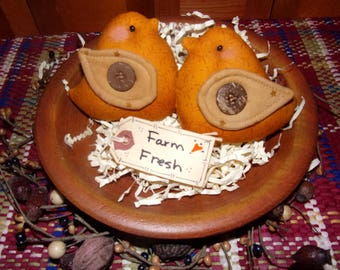 Primitive Whimsical Country Spring Barnyard Golden CHICKS Tucks Bowl Fillers Ornaments Ornies (PYC-008)