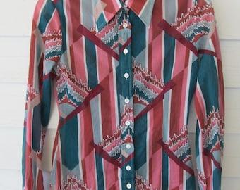 Vintage 70's HUKAPOO Sheer Graphic Print Disco Era Shirt