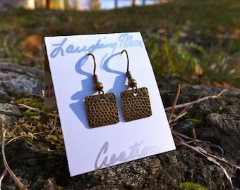 Moon- Brass textured earring