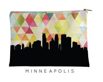 Minneapolis  | Minneapolis  Skyline Geometric | Minneapolis  Purse | Minneapolis Skyline | Minneapolis Makeup Bag| Minneapolis Pouch Yellow