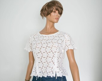 50s Vintage cotton lace blouse/ short sleeve romantic flower eyelet lace cropped summer blouse/M