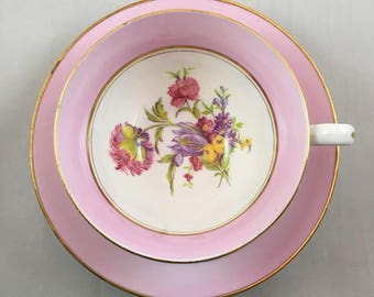 Pink Staffordshire Teacup and Saucer, Floral Bouquet, Pink Lovers Teacup